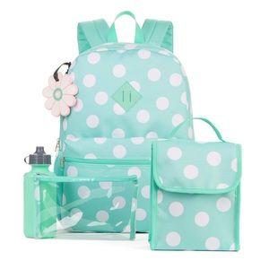 Handbags - Mint blue polka dot 5 piece set backpack lunch bag